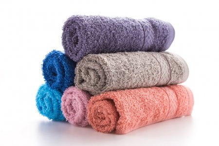 Rolled up fluffy towels