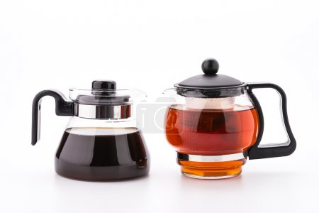 Tea pot and coffee pot isolated on white background