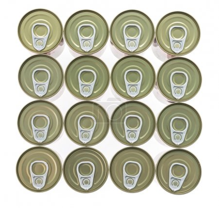 Aluminum cans rows