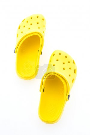 Photo for Summer Yellow Sandals isolated on white background - Royalty Free Image