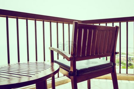 Chair on terrace outdoors