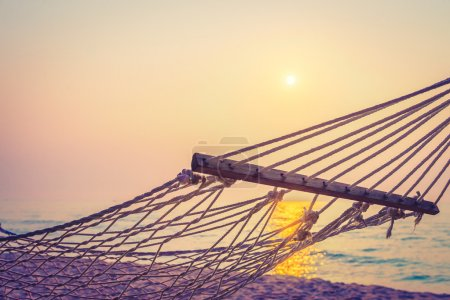 Hammock on the beach at sunset
