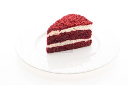 Photo pour Gâteau de velours rouge sur blanc plat - image libre de droit