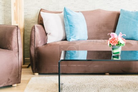 Pillows and Sofas in luxury living room