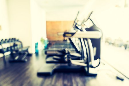 Photo for Abstract blur fitness and gym room interior background, Vintage filter - Royalty Free Image