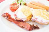 Eggs Benedict set for breakfast