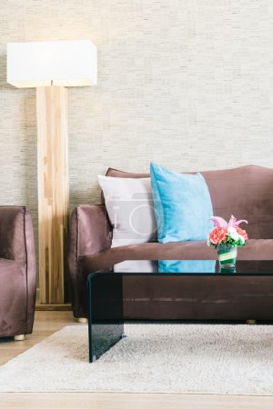 Pillows and Sofa in living room interior