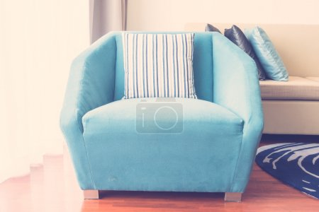 Photo for Beautiful luxury pillow on sofa decoration in living room interior, Vintage Light Filter - Royalty Free Image