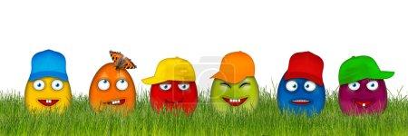 Photo pour Oeufs de Pâques colorés avec des visages drôles isolés sur fond blanc - image libre de droit