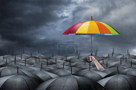 Photo pour Parapluie arc-en-ciel en masse de parapluies noirs - image libre de droit
