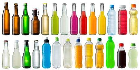 Photo pour Collection de diverses bouteilles de boissons froides - image libre de droit