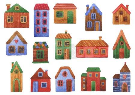 Photo pour Maison, chalet avec pelouse isolée sur fond blanc. Home Sweet Home. Illustration aquarelle de la maison - image libre de droit