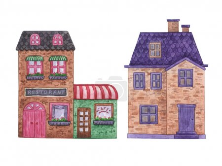 Photo pour Maison, chalet avec pelouse isolée sur fond blanc. Home Sweet Home. Illustration aquarelle de la maison. Apartament. L'architecture. Maison. - image libre de droit