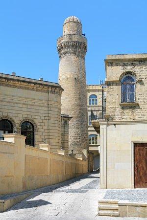 Minaret of Juma Mosque in Baku, Azerbaijan