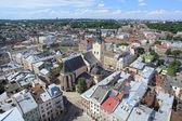 A latin katedrálisra, a torony, a városháza-lviv, Ukrajna