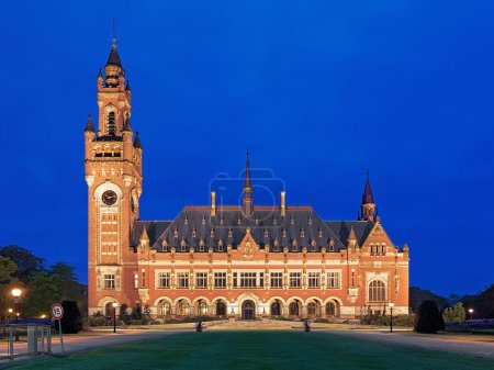 The Peace Palace at evening in The Hague, Netherlands