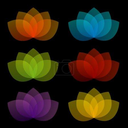 Illustration pour Lotus gracieux avec 5 pétales - image libre de droit