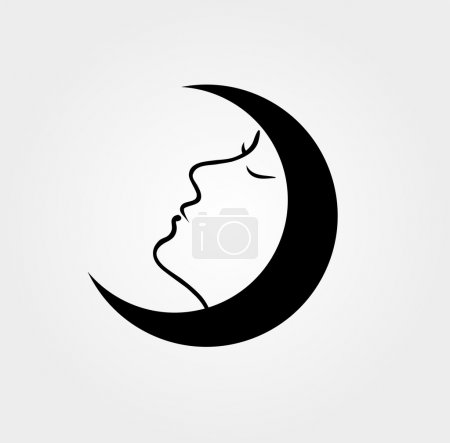Illustration for Woman face inside a moon with her eyes closed - Royalty Free Image