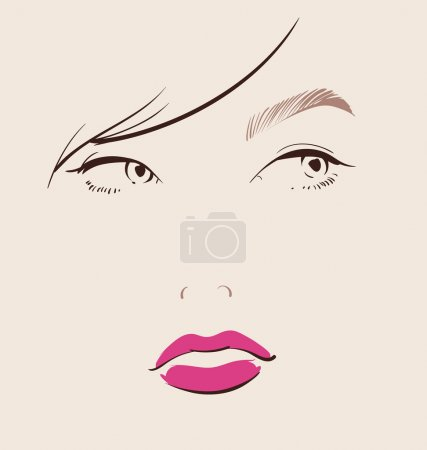 Illustration for Beautiful woman face with red lips make up close-up illustration eps 10 - Royalty Free Image