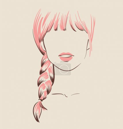 Illustration for Beautiful woman with long  hair style sketch vector illustration eps 10 - Royalty Free Image