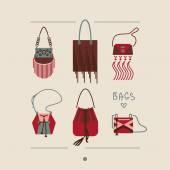 Kolekce žena tašky a peněženky vektorové ilustrace