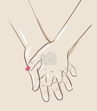 Man and woman couple holding hands. Vector illustration
