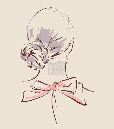 Illustration pour Belle vue de coiffure femme de l'illustration du dos - image libre de droit