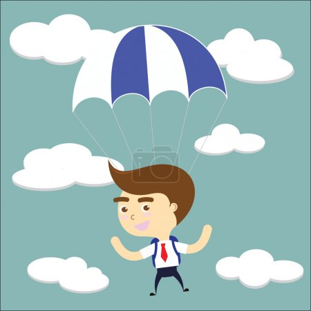 Businessman falling sky with blue parachute vector