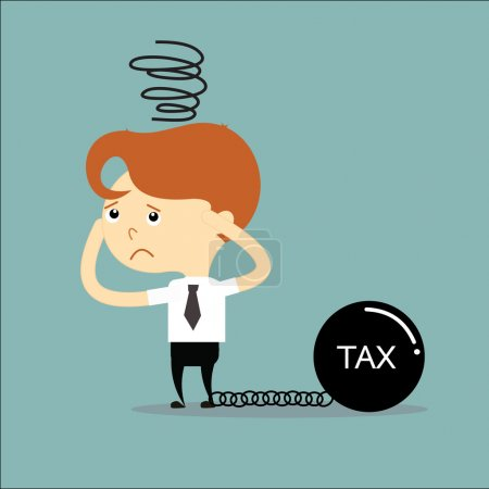 Businessman has a problem with tax black chain and weight vector
