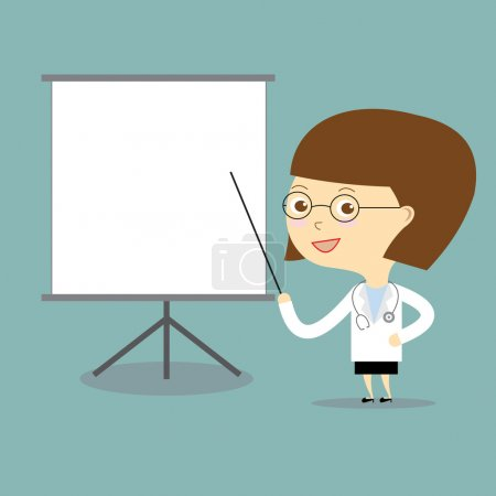 doctor woman teach with white board vector