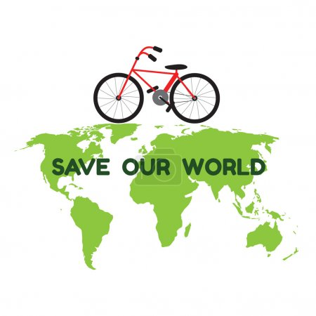 Bycicle on green world map and word save our world for environme