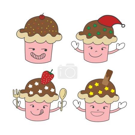 Illustration pour Jeu de caractères cupcake dessiné à la main avec chapeau de Noël, fraise et vecteur de plaquette - image libre de droit