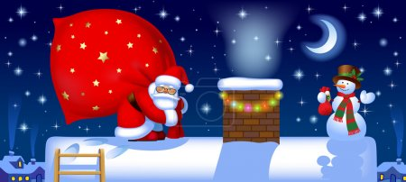 Santa Claus with a sack on the roof