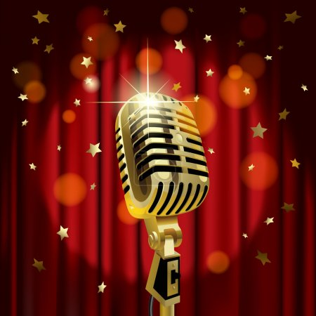 Gold old microphone against the illuminated red curtain background with rain of stars
