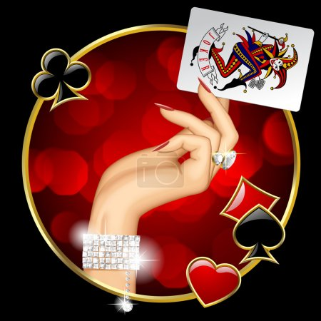 Female Hand with Joker playing card