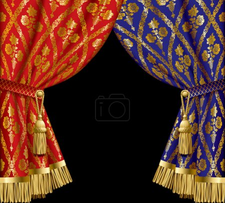 Blue and red drapes