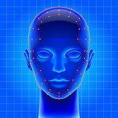 Blue futuristic artificial head