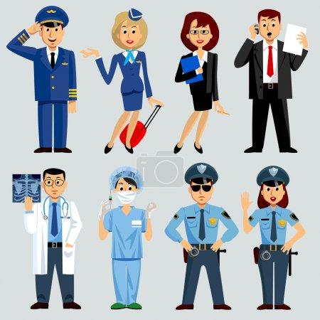 Illustration for Men and women of different work professions and occupations: airlines, medicine, business, police. Vector Illustration - Royalty Free Image