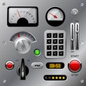 Set of meters buttons and other machinery parts on metallic das