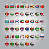Set of round glossy flags of all sovereign countries of Asia with captions in alphabet order  Vector illustration