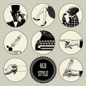 Set of round images in vintage engraving style with body parts and accessories Retro business concept Vector illustration
