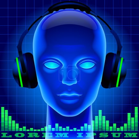 Futuristic artificial head in blue light with headphones