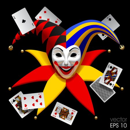 Illustration for Joker head with playing cards isolated on black. Three Dimensional stylized drawing. Vector illustration - Royalty Free Image