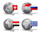 Gray Earth globes with designation of Switzerland Russia Egypt and Greece location with state flags Vector illustration