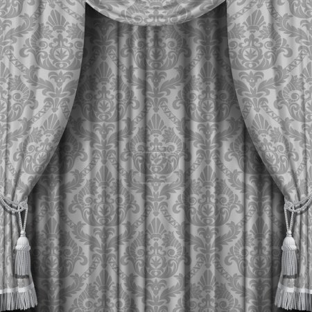 Ilustración de Vector image of gray curtain with Baroque ornament. Square theater background. Artistic poster - Imagen libre de derechos