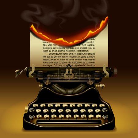 Illustration pour Une machine à écrire bizarre avec un papier brûlant. Illustration vectorielle du concept d'écriture - image libre de droit