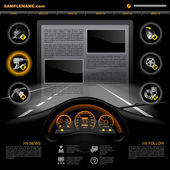 Black automobile Service Website design template with dashboard night road service and repair related icons Vector illustration