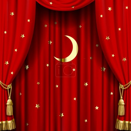 Illustration for Red curtain with gold tassels, moon and stars. Square theater and Christmas background. Artistic poster.  Vector Illustration - Royalty Free Image