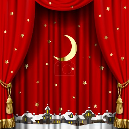 Illustration for Christmas and New Year red curtain with a town skyline in snow down, gold moon and stars. Square theater and Christmas background. Artistic poster. Vector illustration - Royalty Free Image