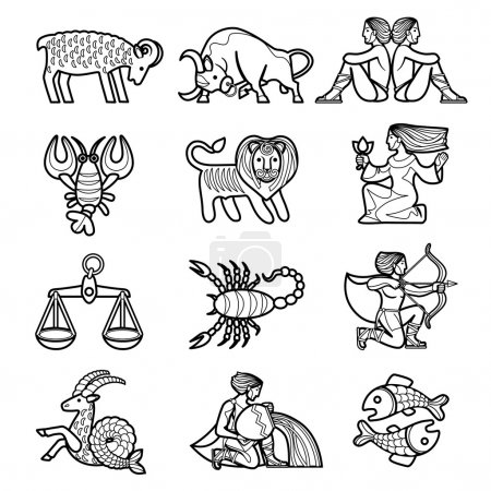 Illustration for Set of black linear zodiacal signs with figures on white background. Vector illustration - Royalty Free Image